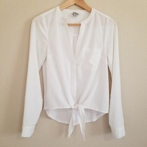 A New Day Tie Front White Blouse XS